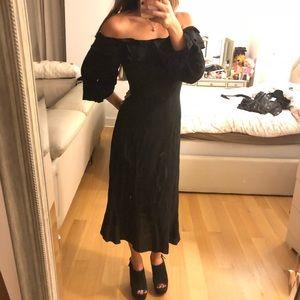 & Other Stories Black Off Shoulder Midi Dress NWT